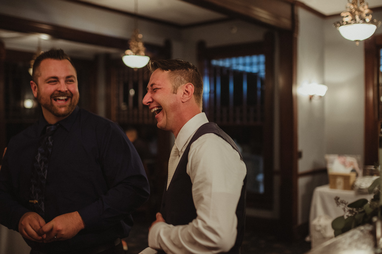 Wedgewood Sequoia Mansion wedding groom laughing photo