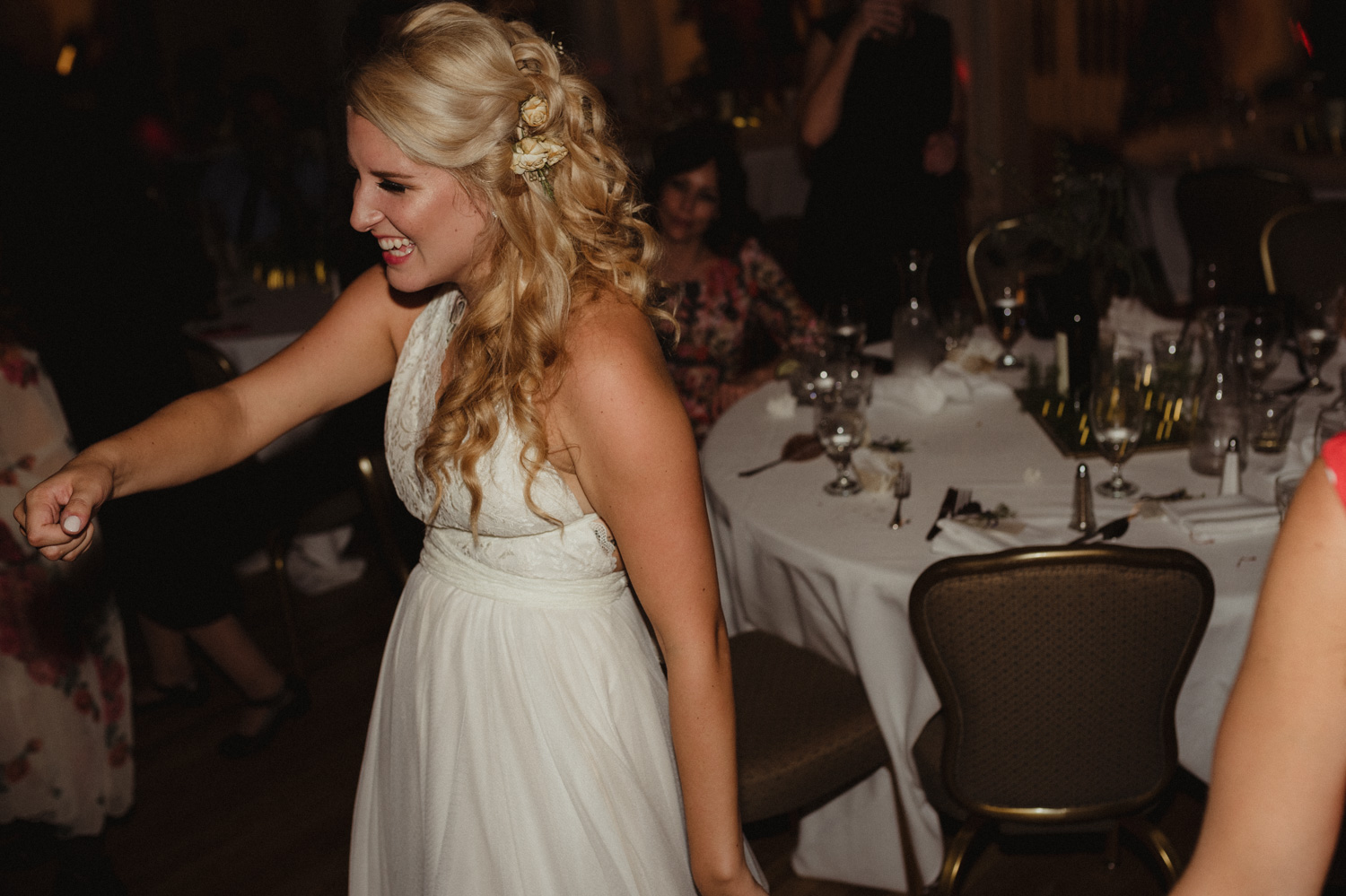 Wedgewood Sequoia Mansion wedding bride having a blast photo