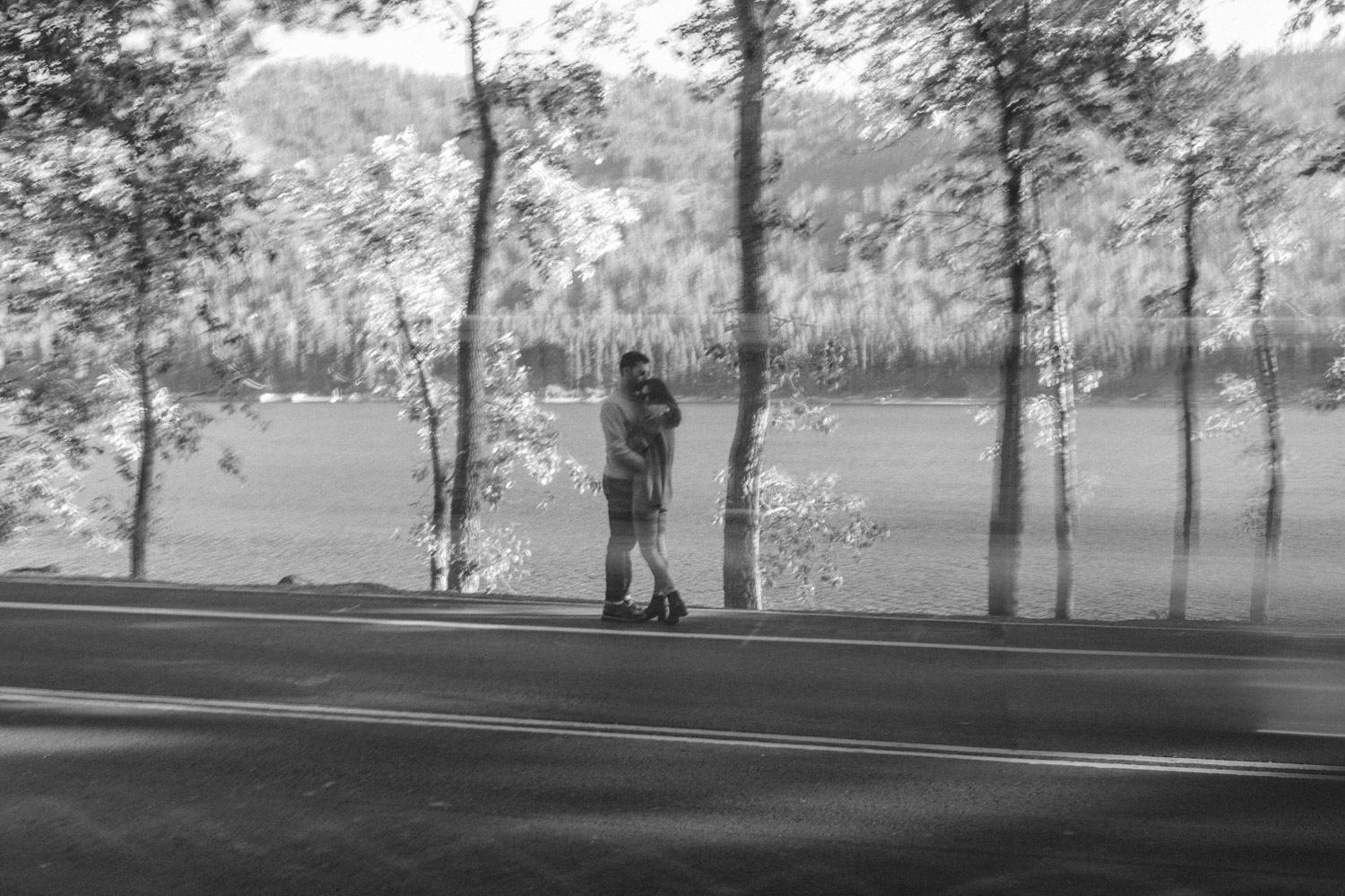North Lake Tahoe engagement couple on side of the street photo