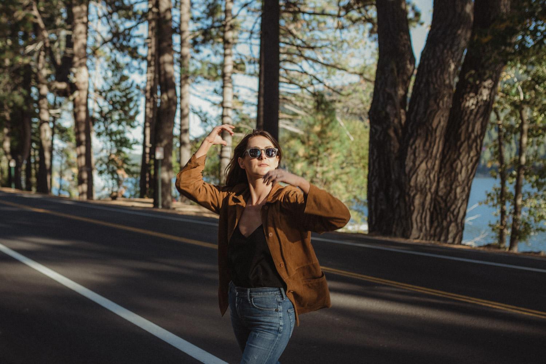 North Lake Tahoe engagement session girl walking photo