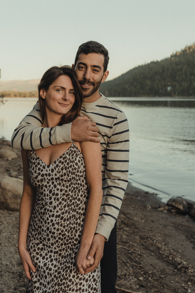 North Lake Tahoe engagement couple looking at the camera photo