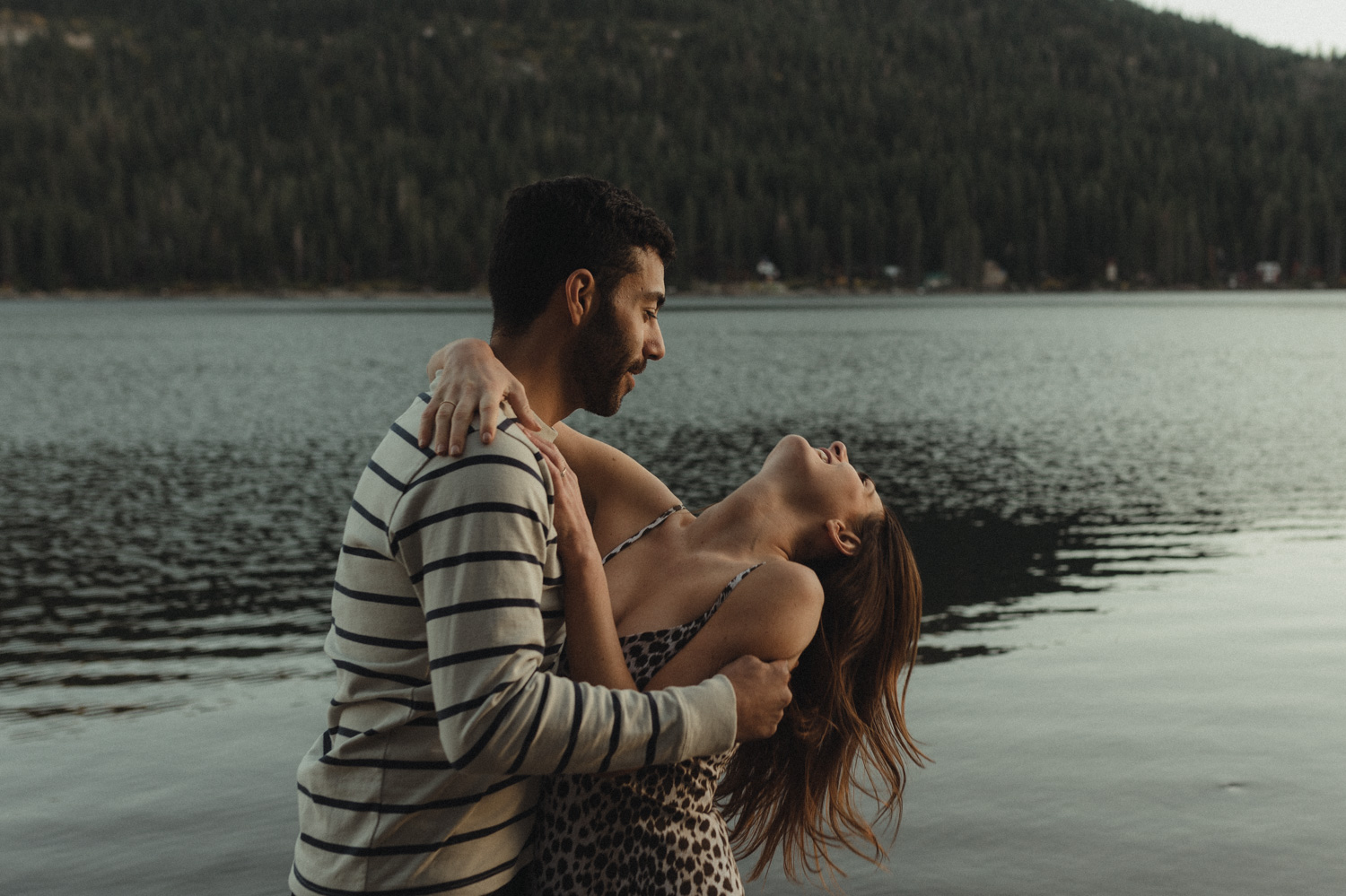 North Lake Tahoe engagement couple laughing together photo