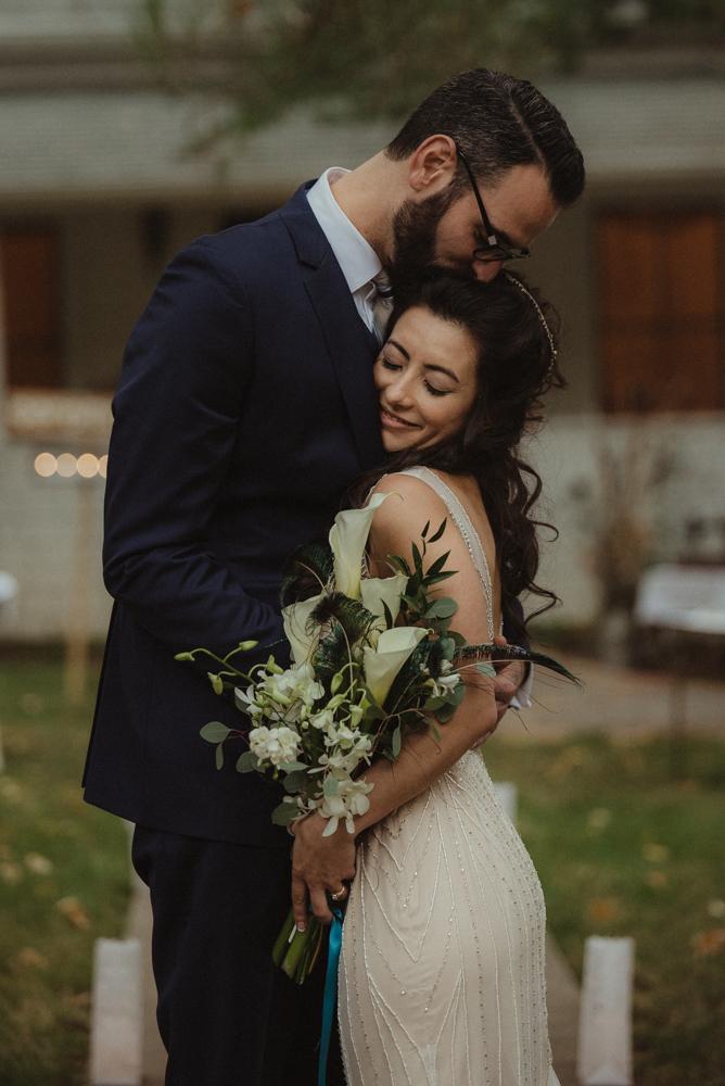 Nevada City Wedding Photographer couple hugging photo