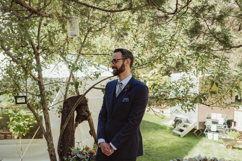 Nevada City wedding groom's reaction photo