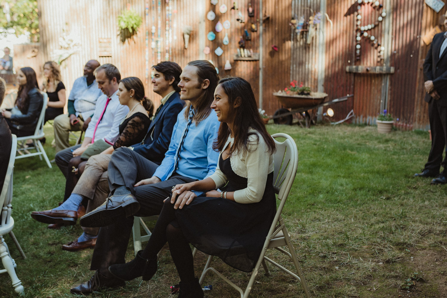 Nevada City wedding guests laughing photo