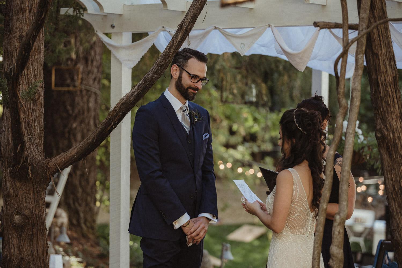 Nevada City wedding bride reading her vows photo
