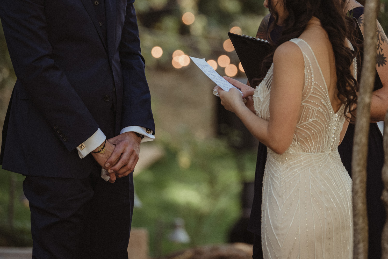 Nevada City wedding bride holding her vows photo