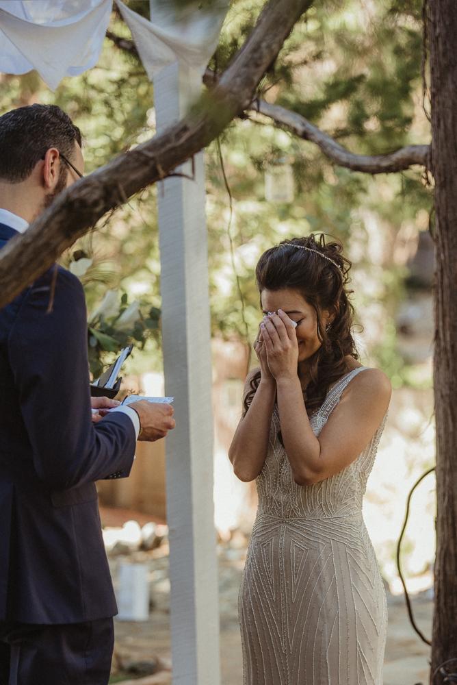 Nevada City wedding bride getting emotional photo