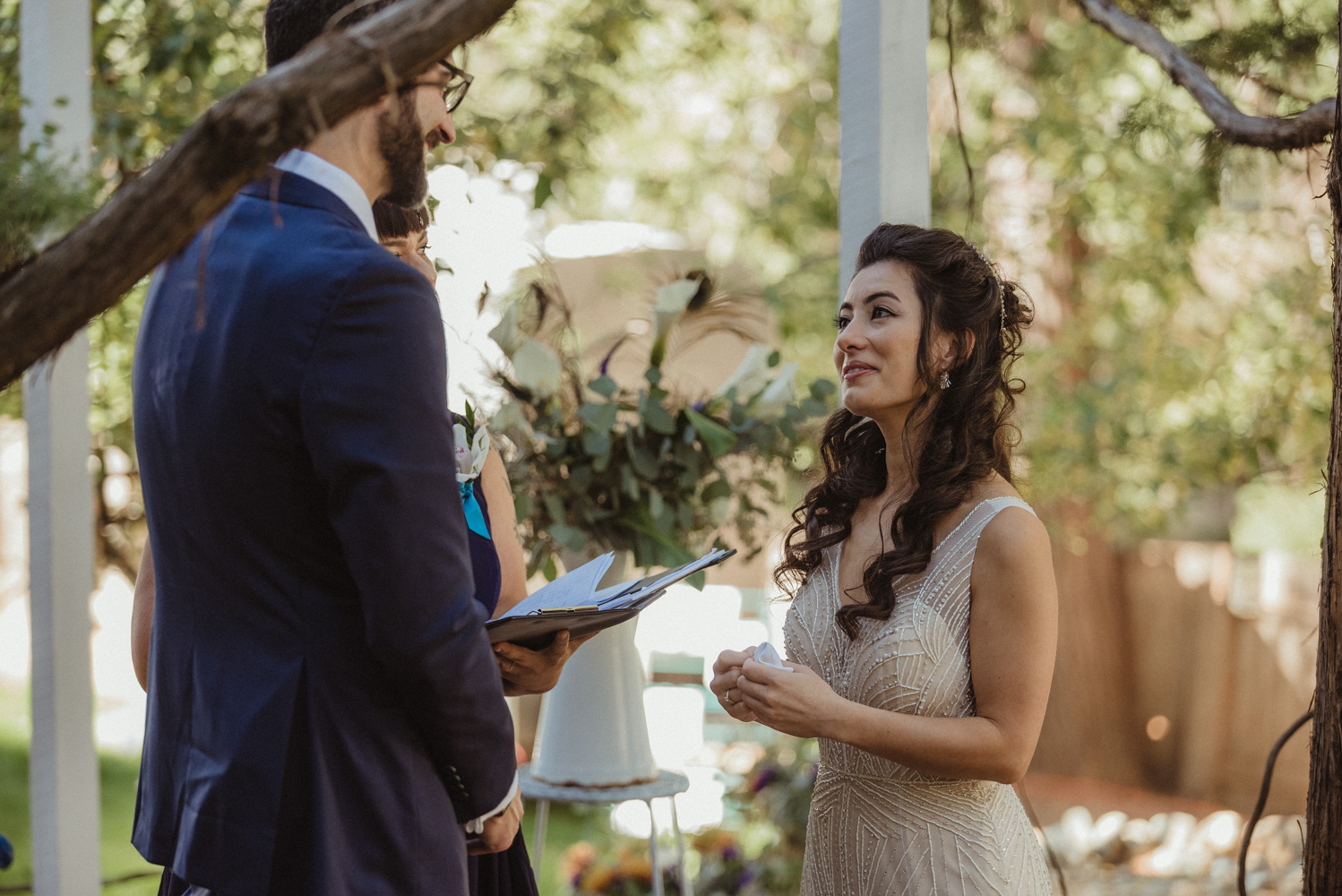 Nevada City wedding groom saying his vows to his bride photo