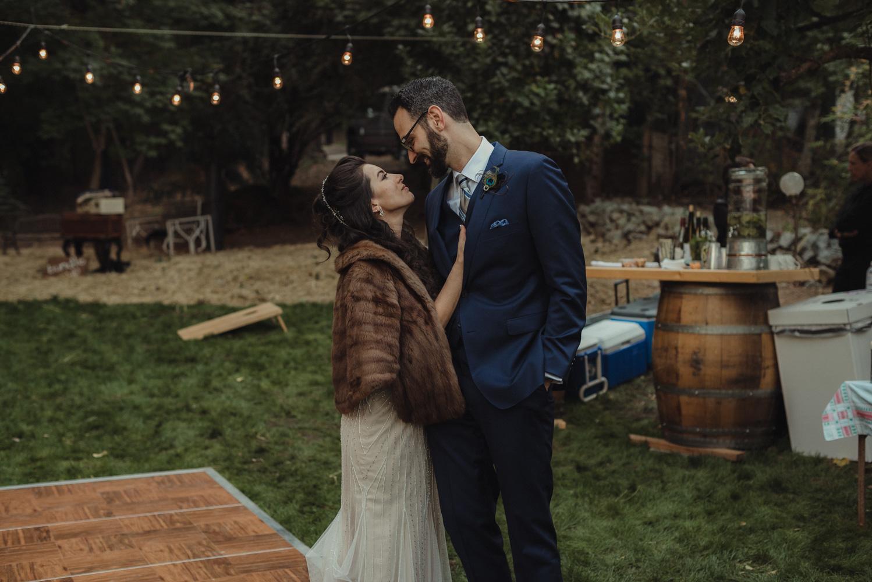 Nevada City wedding reception photo of couple