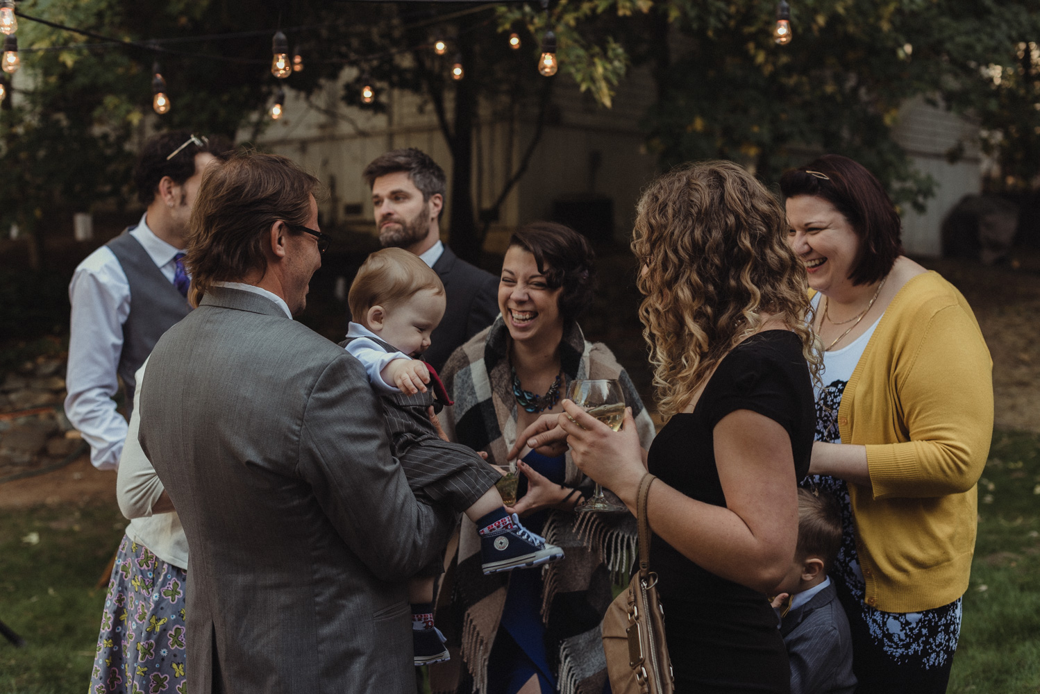 Nevada City wedding reception guests laughing photo