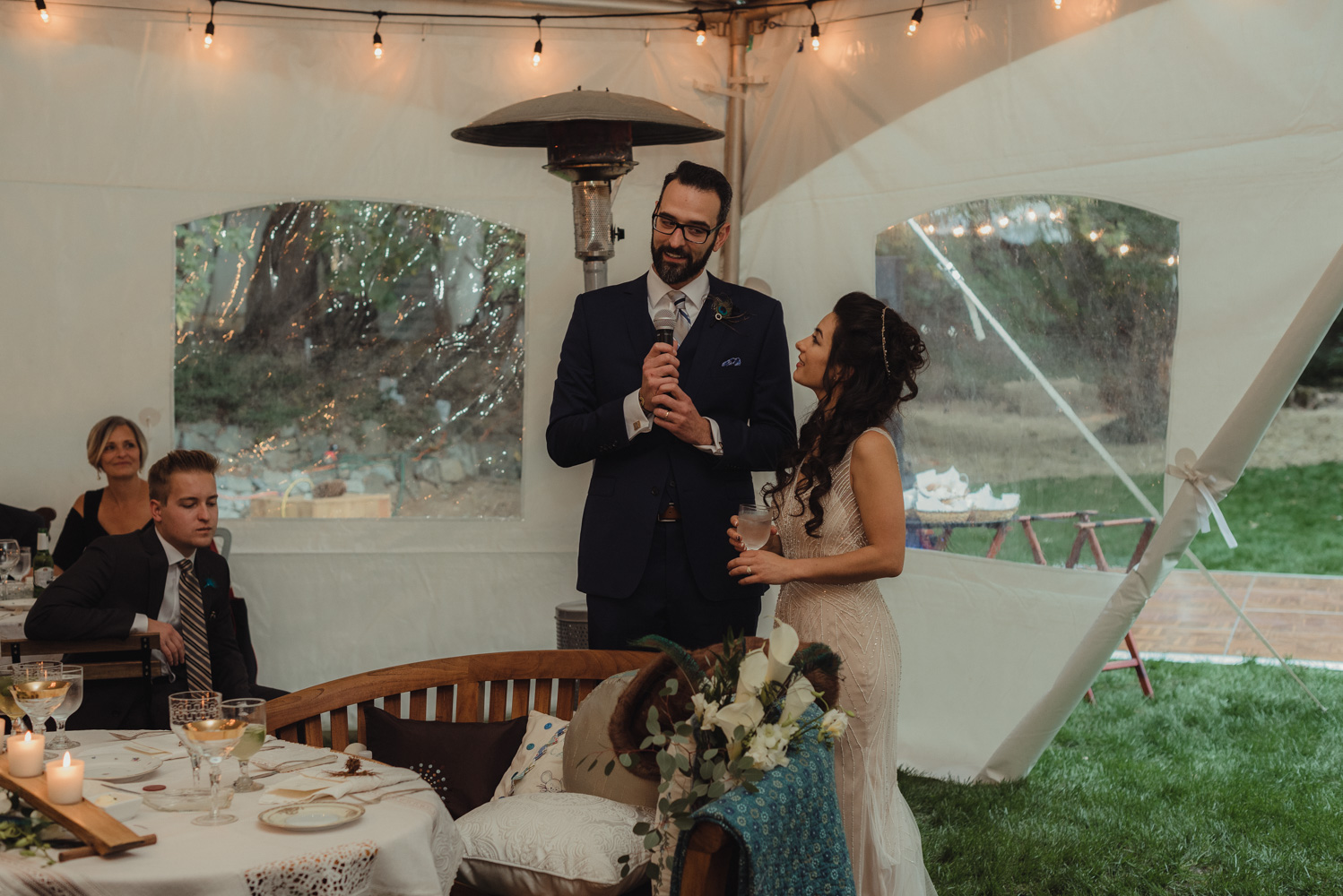 Nevada City wedding couple thanking their guests photo