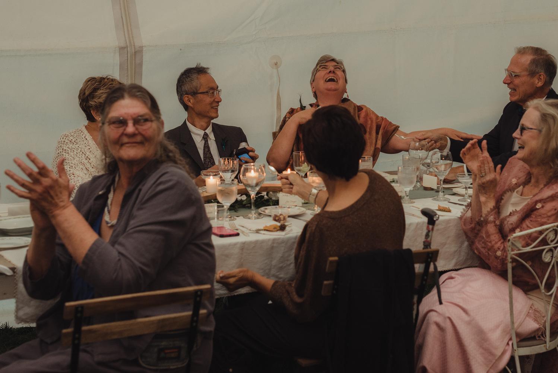 Nevada City wedding reception brides mom laughing photo