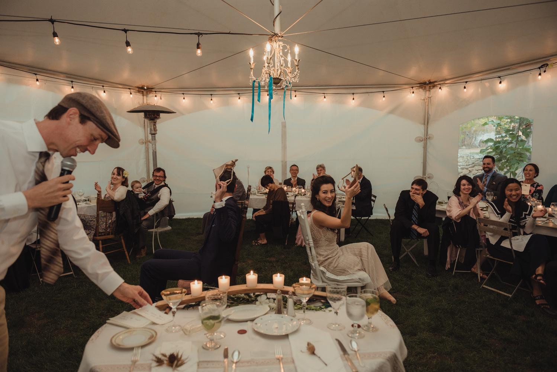 Nevada City wedding reception shoe game photo