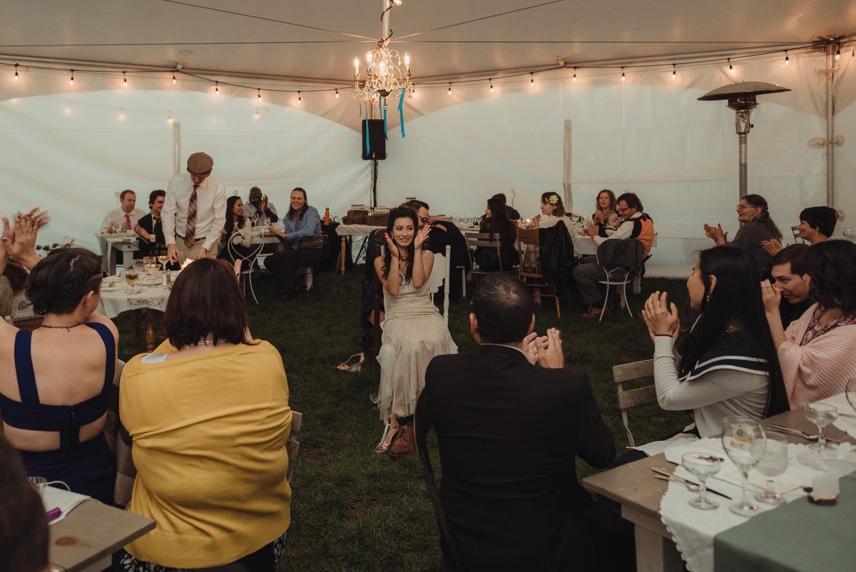 Nevada City wedding reception shoe game wide-angle photo