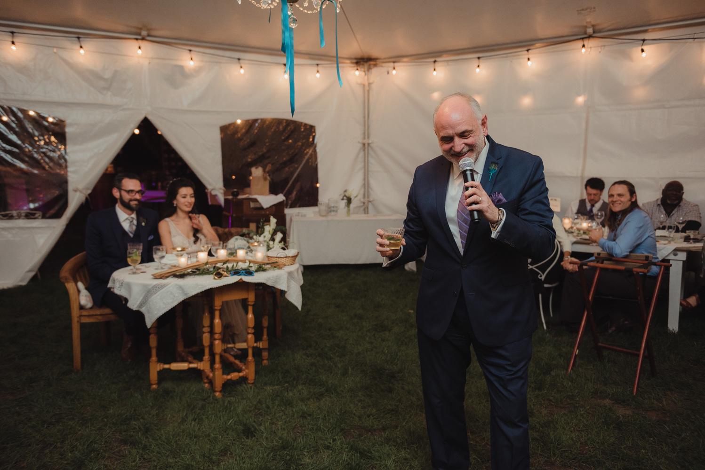 Nevada City wedding reception dad's toast photo