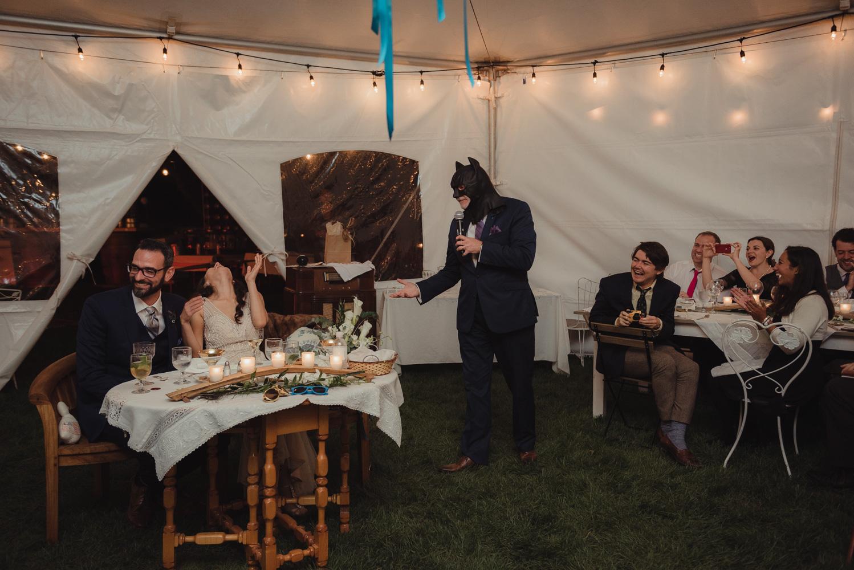 Nevada City wedding reception batman outfit photo