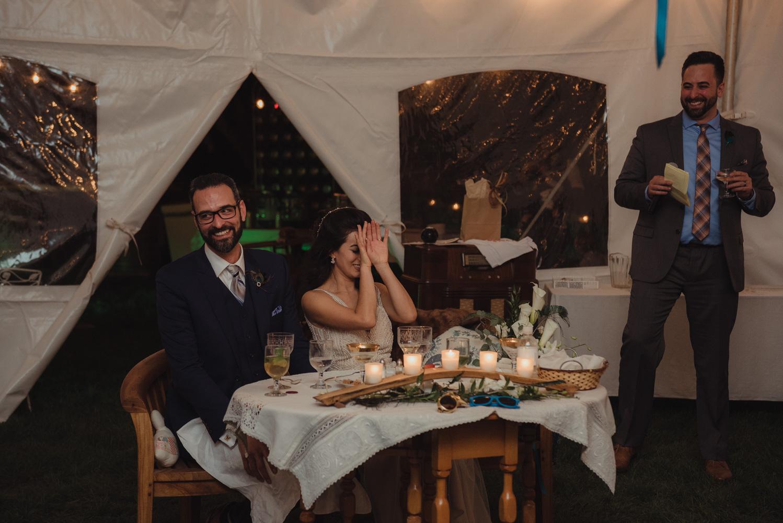 Nevada City wedding reception toasts bride laughing photo