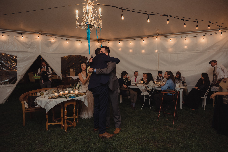 Nevada City wedding reception toasts photo