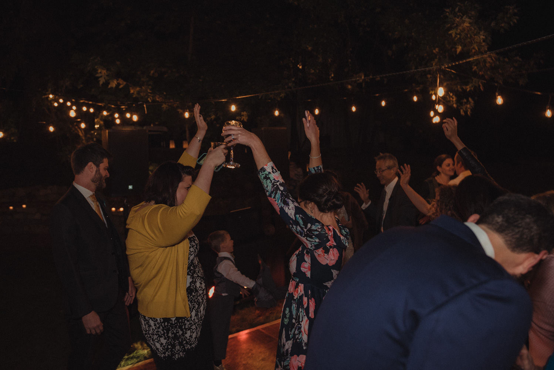 Nevada City wedding guests dancing photo