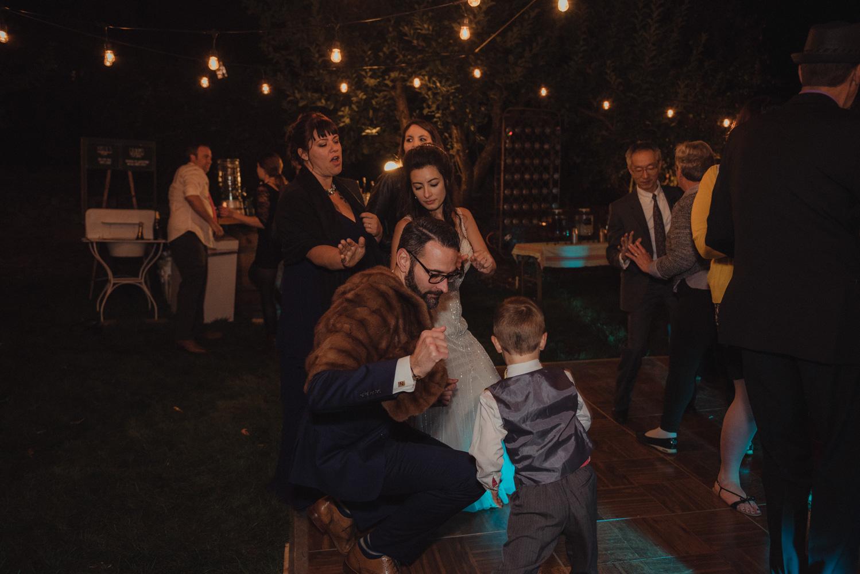 Nevada City wedding groom dancing photo
