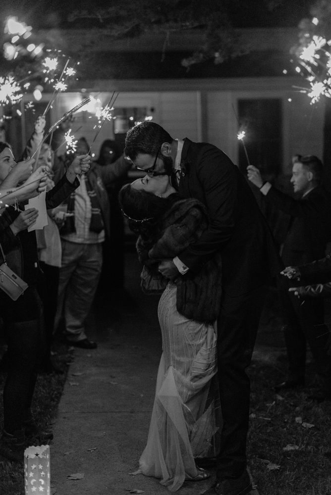 Nevada City wedding sparklers couple kissing photo