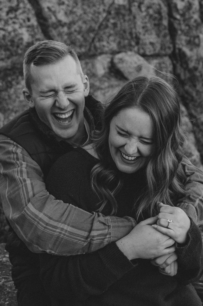 Donner Pass engagement session couple laughing photo