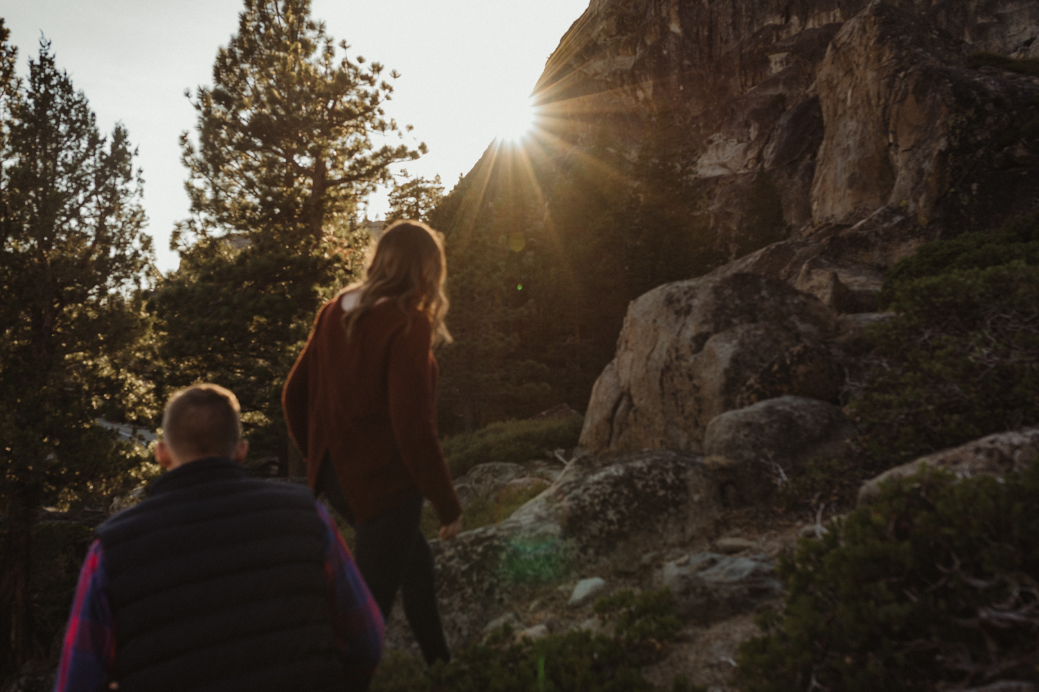 Donner Pass engagement session couple hiking photo
