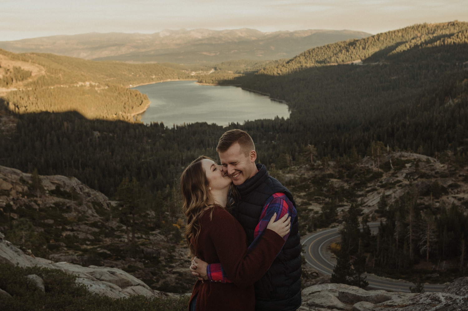 Donner Pass, CA engagement session guy laughing photo