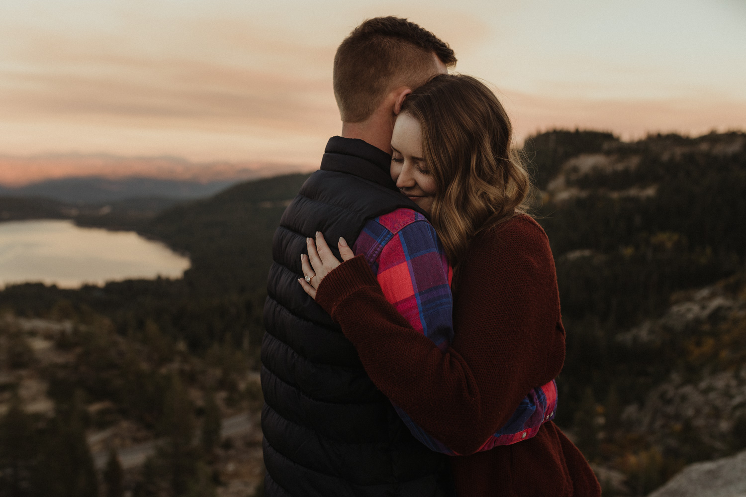 Donner Pass, CA engagement session girl smiling photo