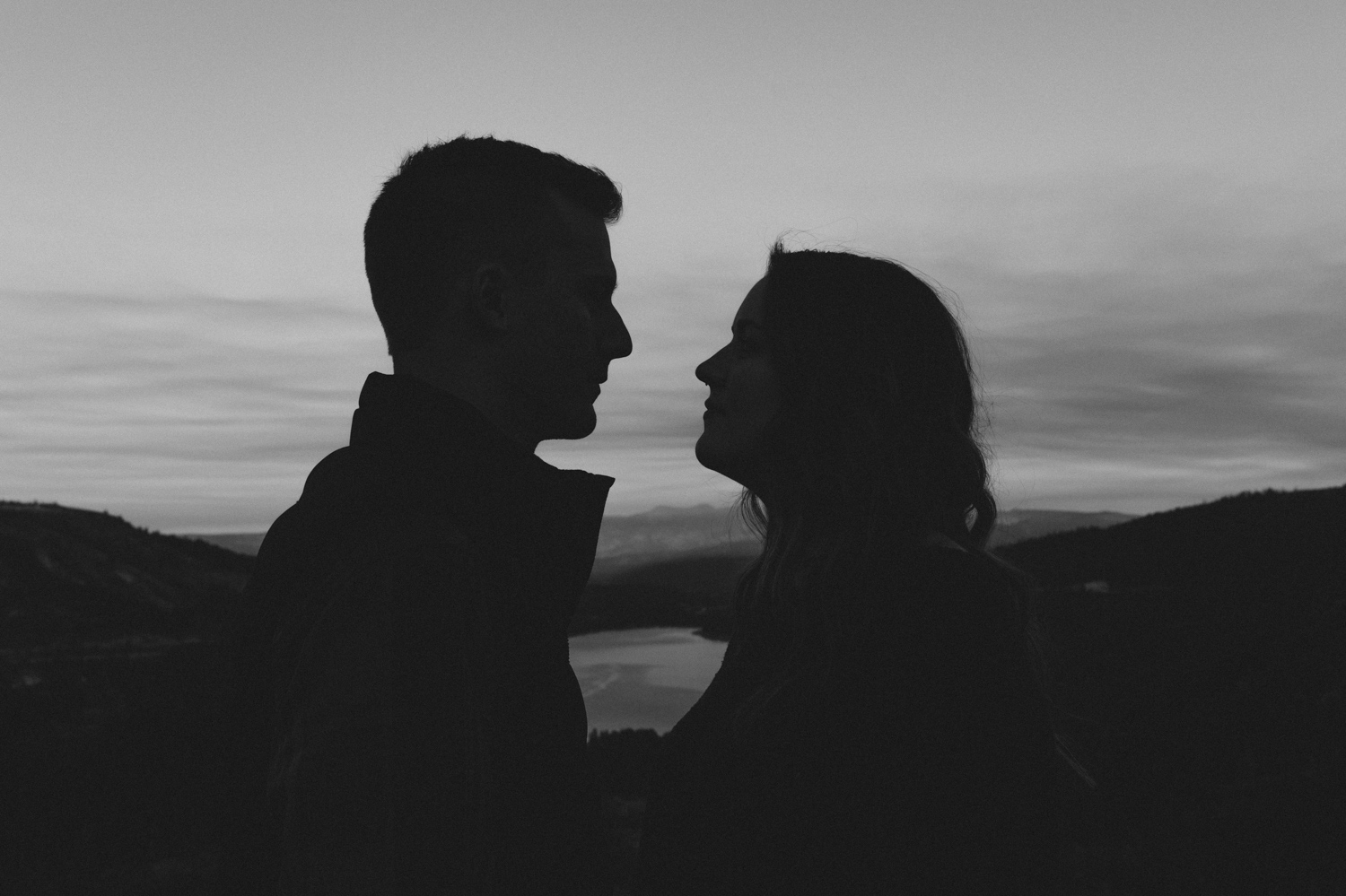 Donner Pass, CA engagement session silhouette photo
