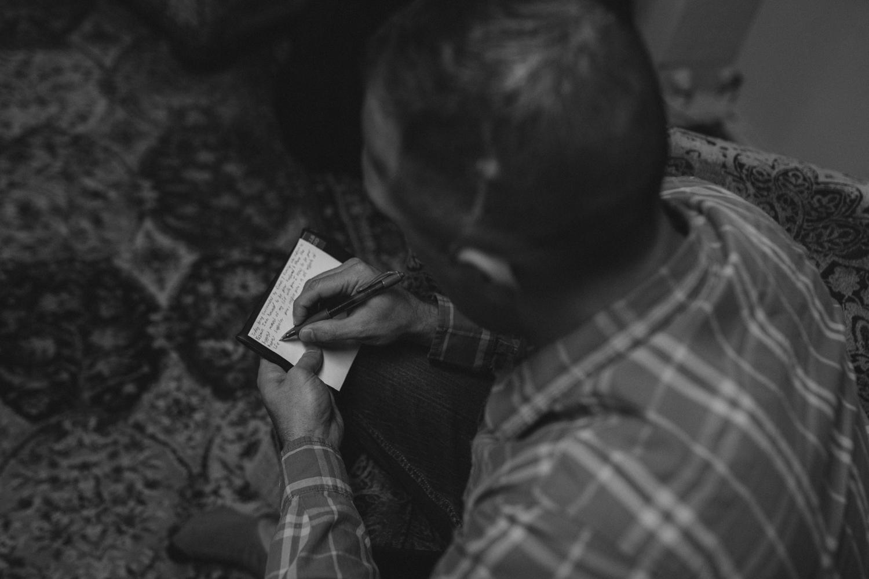 Tannenbaum Reno Wedding groom writing his vows