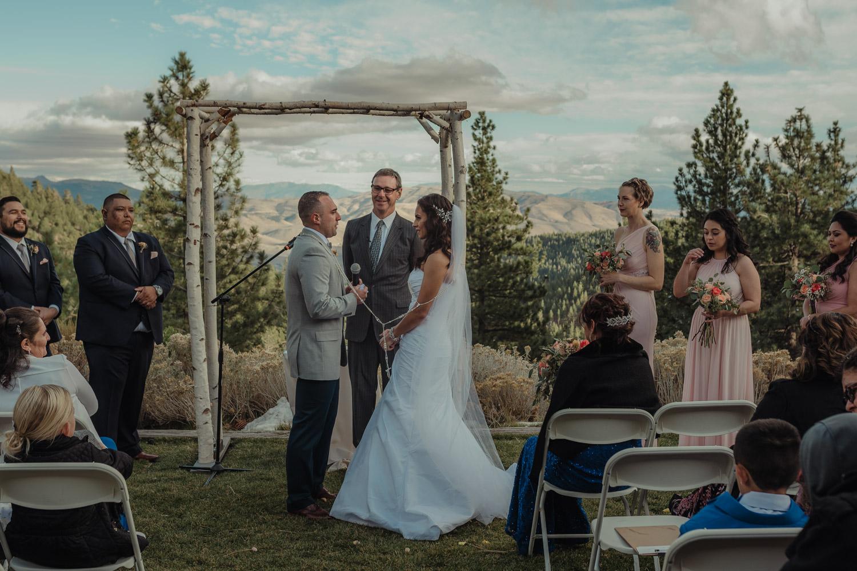 Tannenbaum Reno Wedding couple during their ceremony photo