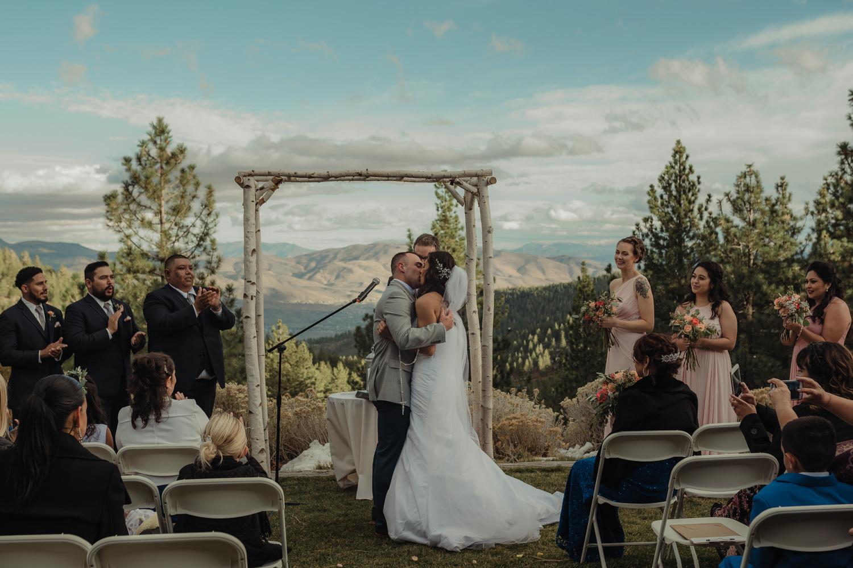 Tannenbaum Reno Wedding first kiss photo