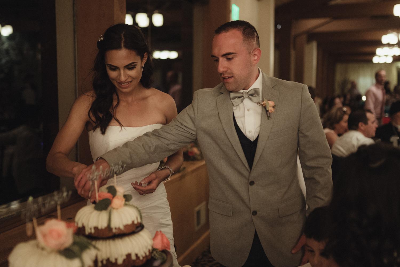 Tannenbaum Wedding Venue couple cutting the cake photo