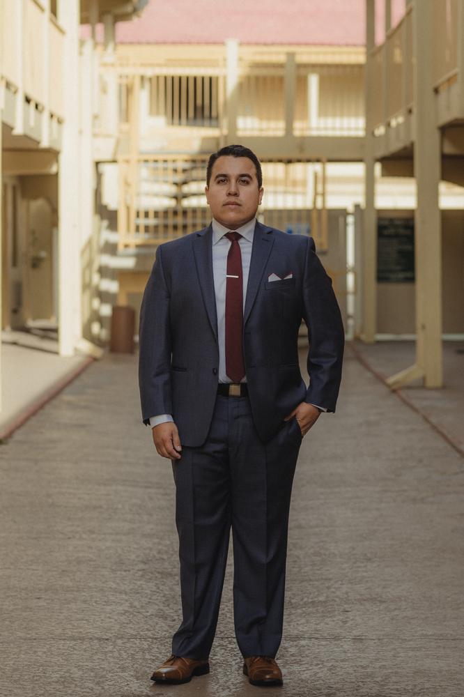 Logan Shoals elopement groom portrait
