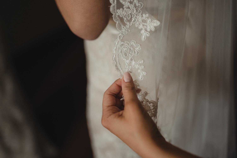 Logan Shoals elopement lace detail photo