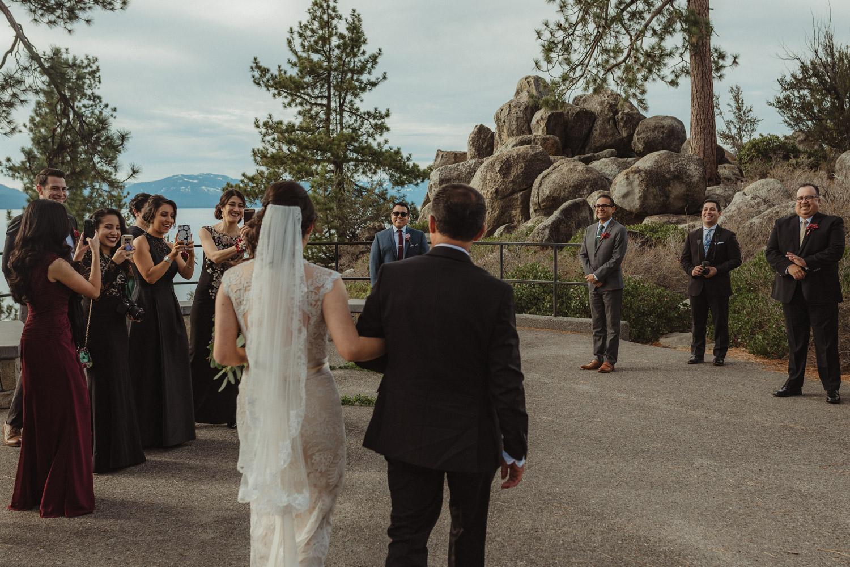 Logan Shoals elopement bride walking with her dad photo