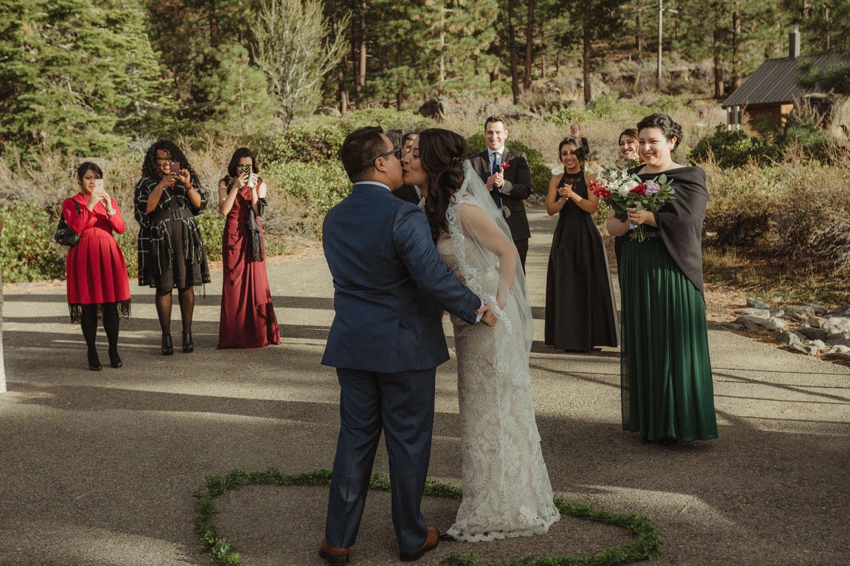 Logan Shoals elopement first kiss photo