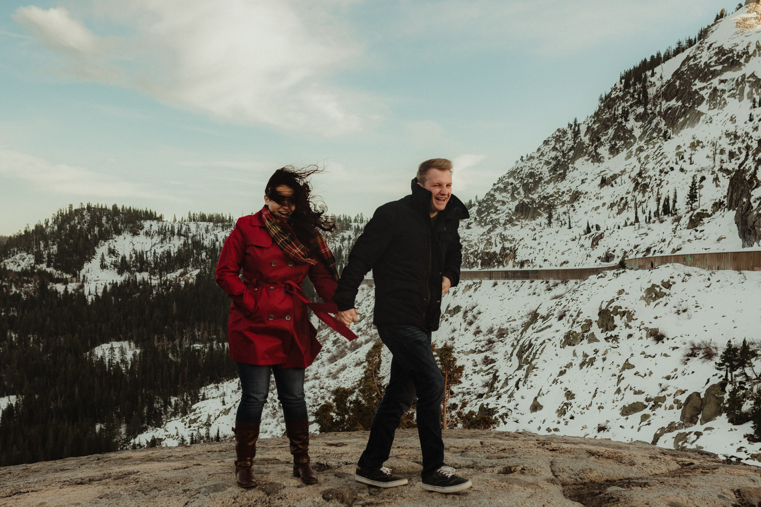Windy engagement photo inspiration at Donner Pass photo