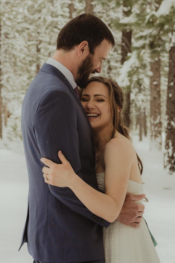 Lake Tahoe winter wedding bride laughing photo