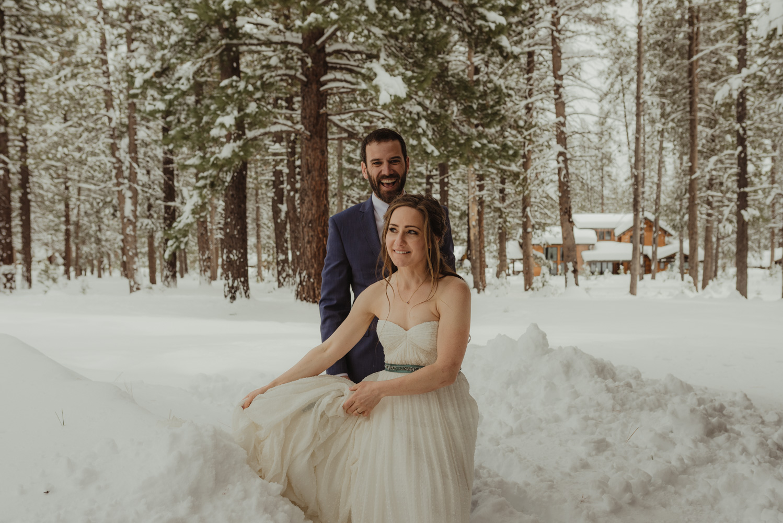 Lake Tahoe winter wedding photo