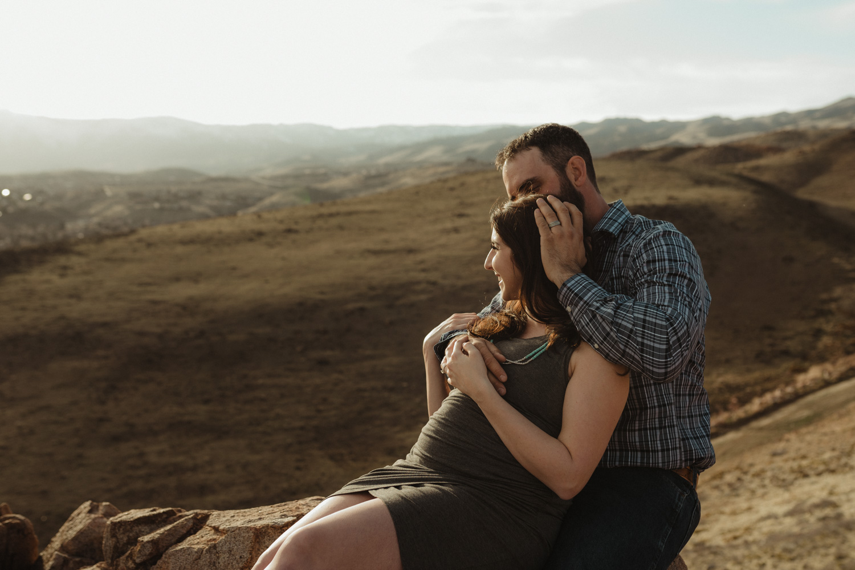 Desert maternity session couple photo