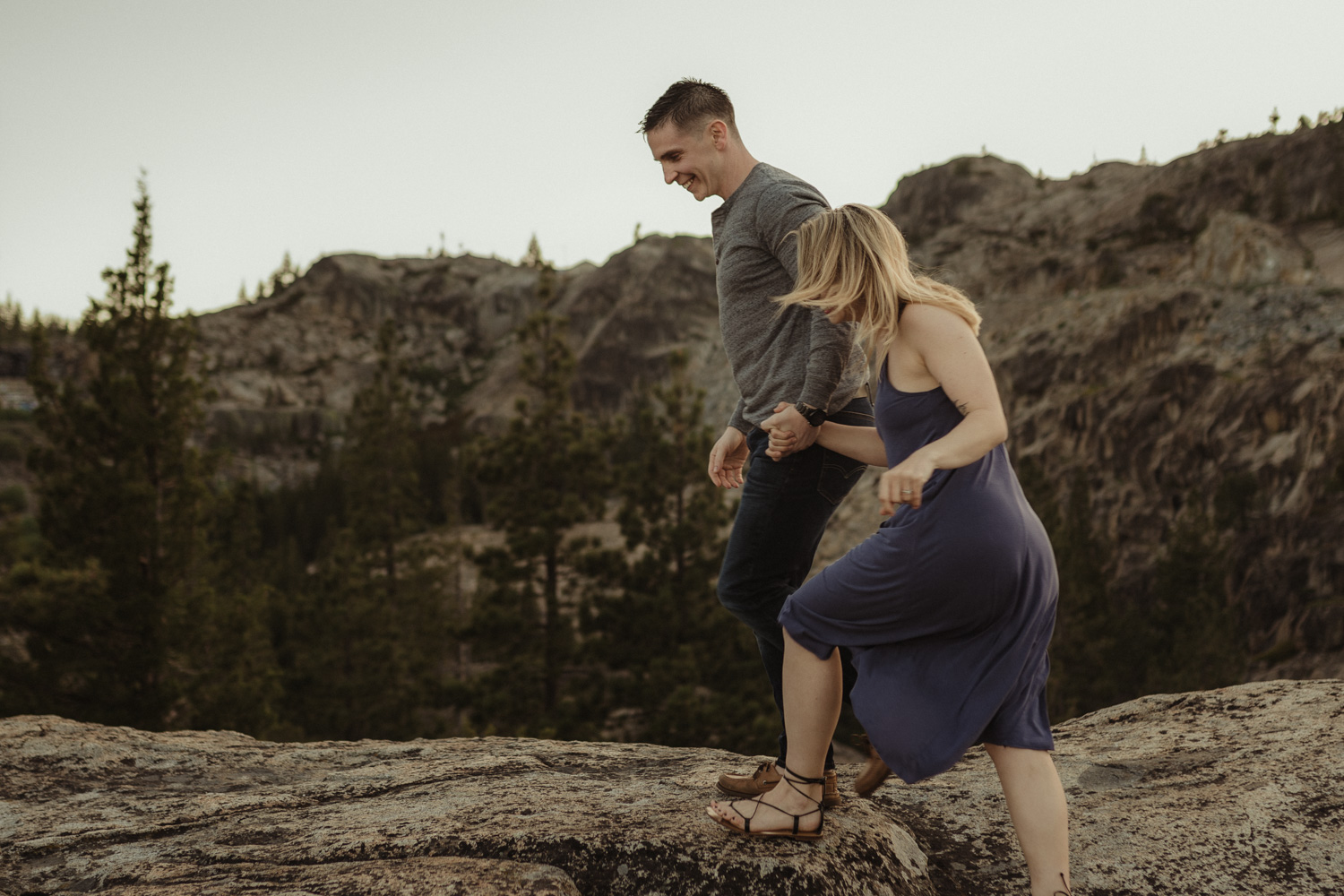 Lake tahoe photographer, couple hiking on a trail photo