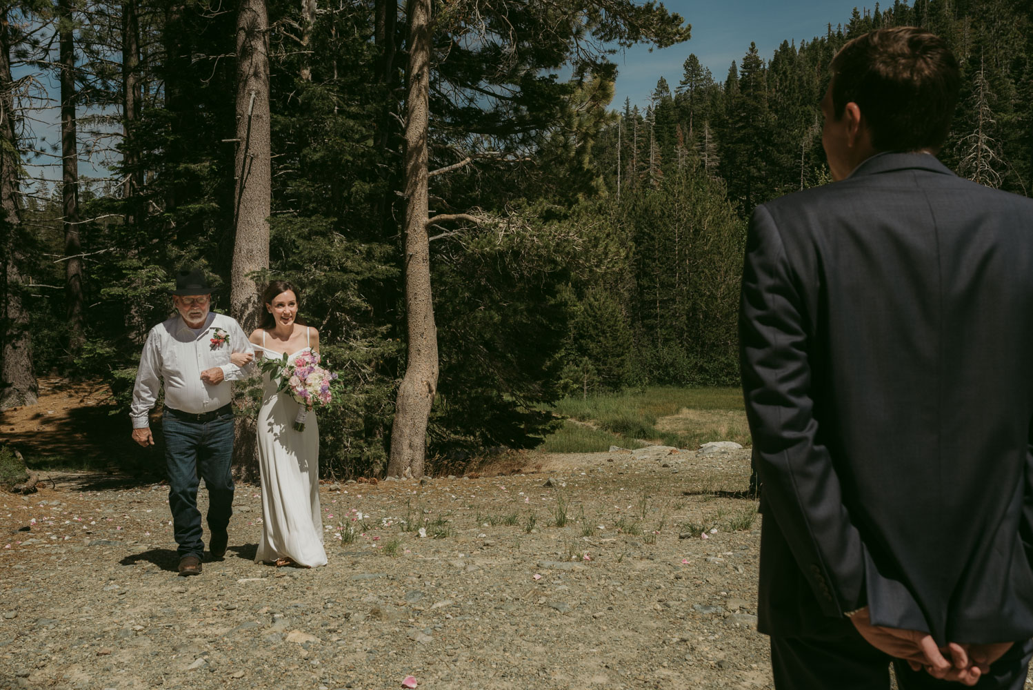 Elopement in Sardine Lake, ceremony photo, bride walking down the aisle with her father