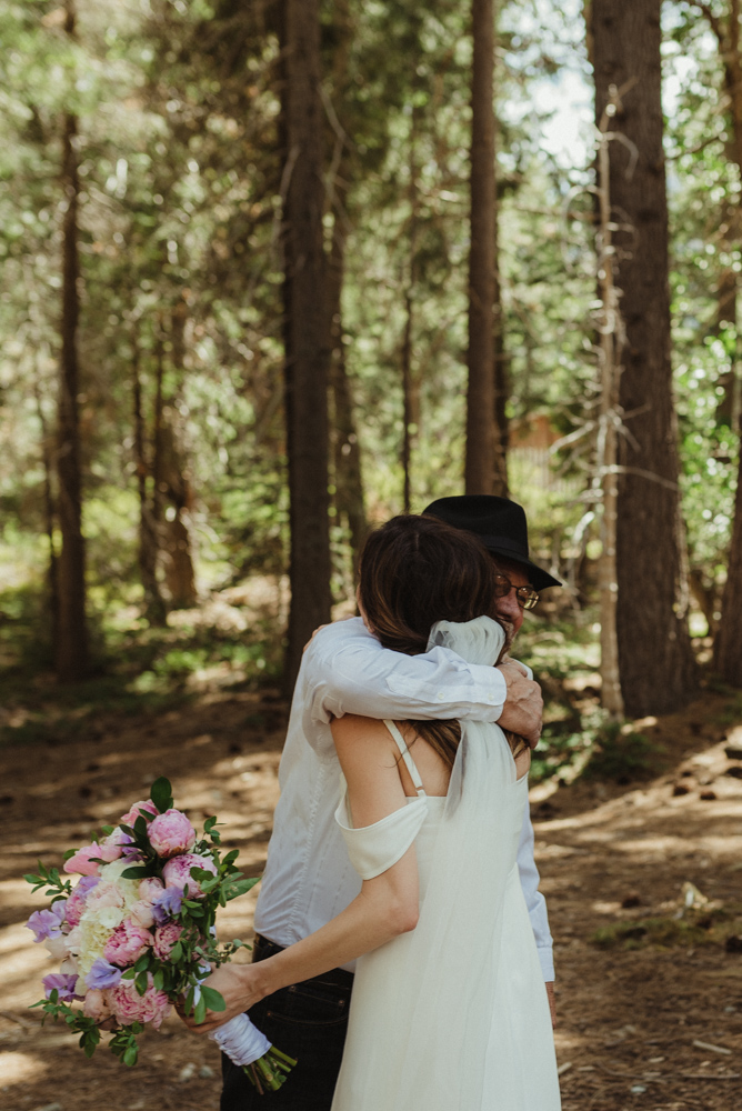 Elopement in Sardine Lake, father daughter first look photo