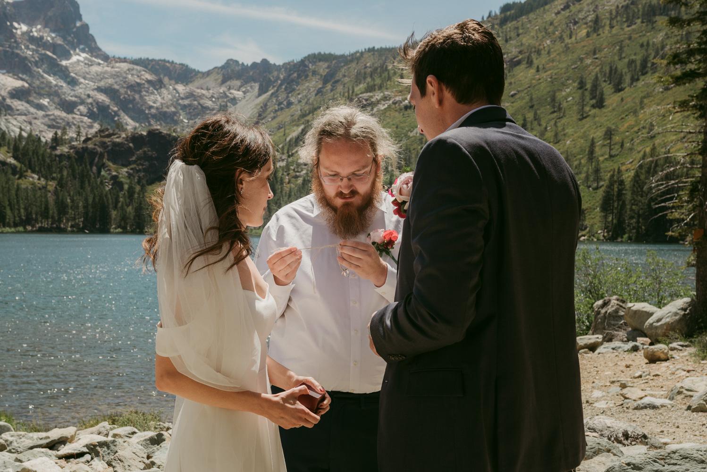 Couple enjoying their ceremony at lower sardine lake photo