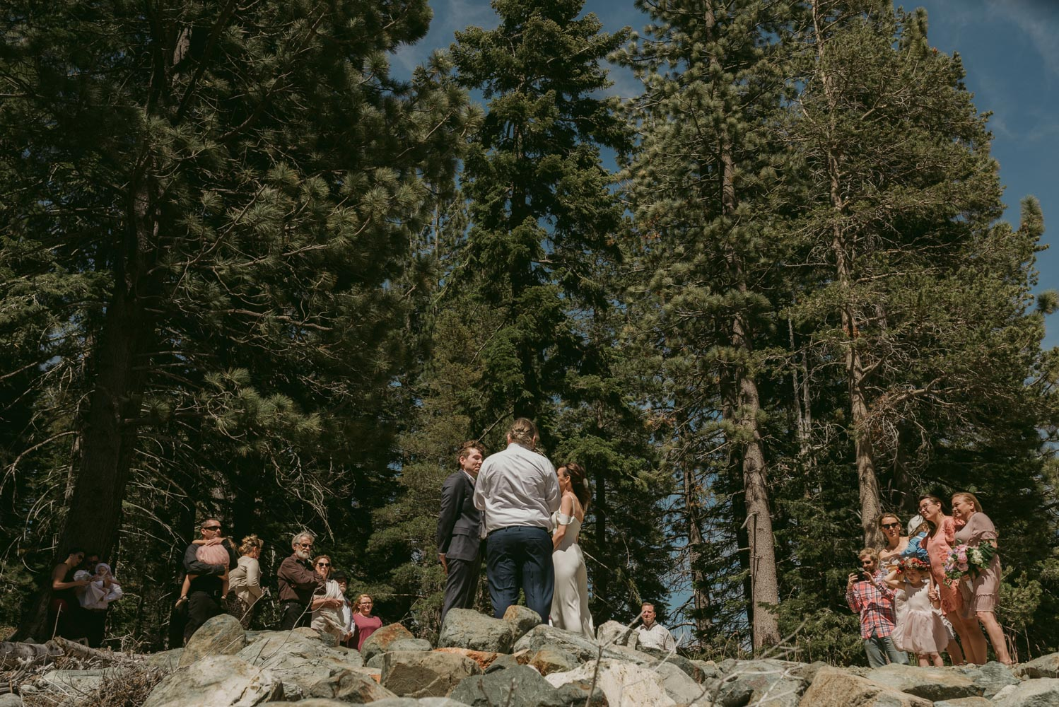 wide angle view of a lake tahoe elopement photo