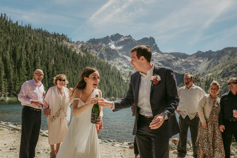 Sardine Lake Resort, Sierra Buttes elopement couple drinking photo