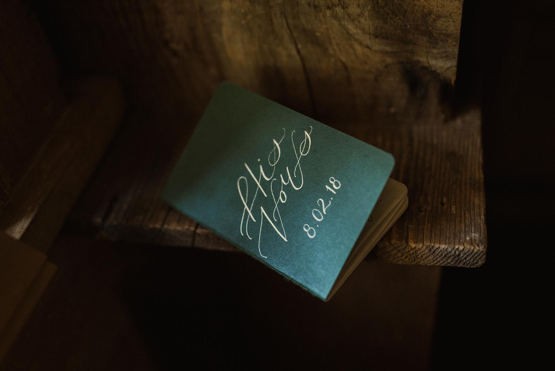 Twenty Mile House Wedding vow book photo
